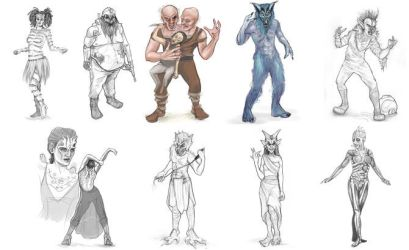 Sketches for Face Off by MissTakArt