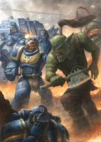 Ultramarine vs Ork by concubot