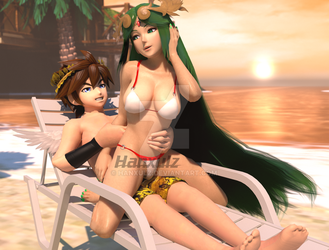 Pit X Palutena Summer (Censored) (Commisioned) by Hanxulz