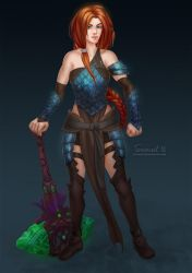 Commission: Warrior girl by TerinCat