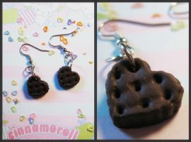Chocolate cookie earrings by JennyLovesKawaii