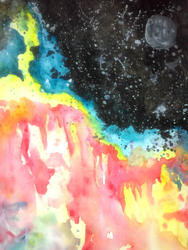 Space-scape WaterColor Practice by Kefka750