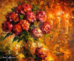 Roses And Candles by Leonid Afremov by Leonidafremov
