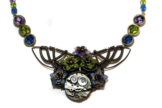 Floral Steampunk Pendant by CatherinetteRings