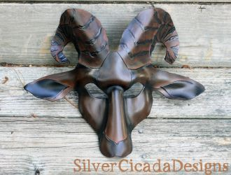 Dark Phase Leather Goat Mask by SilverCicada