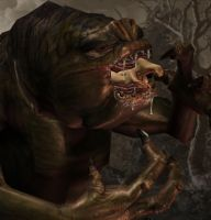 Jessica meets the Rancor3 by AlucardsSpirit