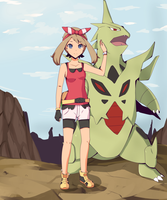 Pokemon May and Mega Tyranitar