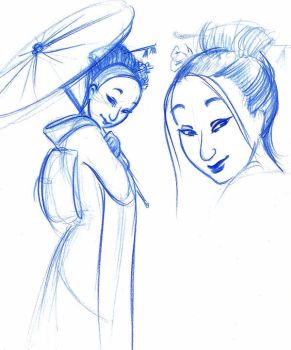 Geisha sketches by MarineElphie