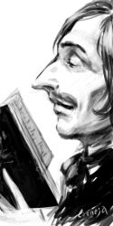 Gogol with a book. Sketch by Corneja