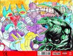 Gundam vs Godzilla Sketch Cover by KomicKarl