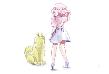 Rose and her dog by Dislexas