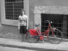 Girl And Red Bike by IdanCarre