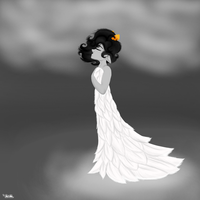 Her White Feather Dress by fluffae
