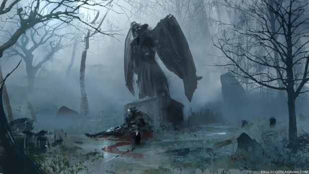 Spitpaint - Angel Statue by abigbat