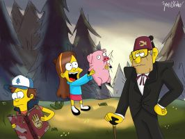 Gravity Falls (The Simpsons Style) by ZaneDrake