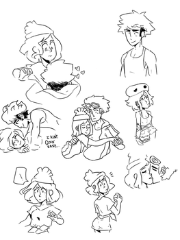 Guzma and Player Doodles by SleepyGuzma