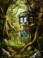 Tardis in the Woods by SkyManateeStudios