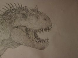 Indominus rex  concept drawing, head shot by anthonyhoogsteden