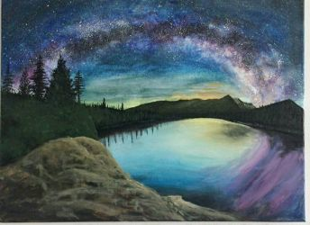 Northern Lights over Rockies Acrylic by TheJennaBrown
