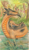 Creature Sketch: Fire-Bellied Wurm by SharkAttackHere