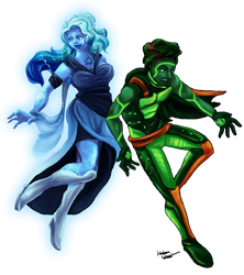 Steven Universe OCs: Jade and Azurite(Commission) by Cronoan