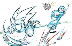 Sonic vs. Mega Man by AndrewDickman