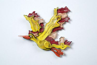 Pokemon Paper Quilling Art 146 Moltres by wholedwarf