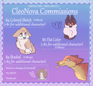 Cheap Feral Commissions! by CleoNova