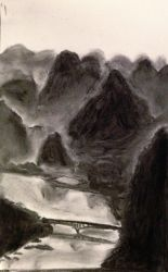 Li River, Yangshuo - Value study, Charcoal by mirceabotez