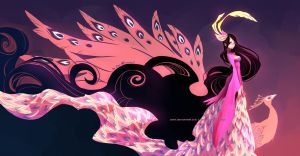 Colorful Wings: Peacock-pink version by ZiyoLing