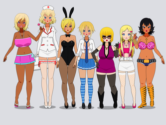 Seven slutty Bimbos by theCataglottism