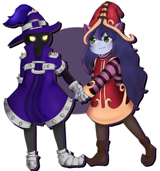 Lulu and Veigar (Art-Trade) by Akira-Chibi