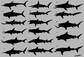 Tusked Shark Silhouettes by Atropicus