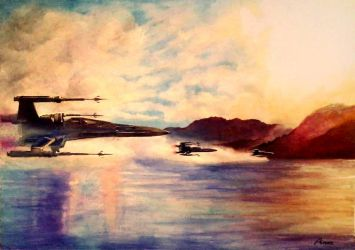 X-wings above water by matsuo1326