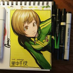 Chie leaning in colour by Omar-Dogan