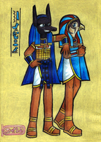 Anubis and Horus by pinkgirl
