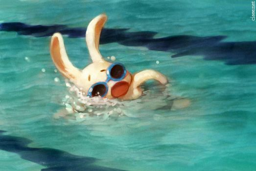 Swim, Rabbit! Swim! by ciaee