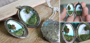 Take a hike! (diorama necklace) by MeandrousArt