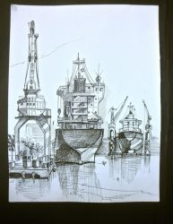 Shipyard watercolor painting by ducphamduy