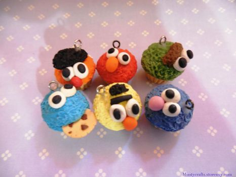 Sesame Street Charm Cupcakes by Misstymountains