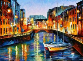 Evening River St. Petersburg by Leonid Afremov by Leonidafremov