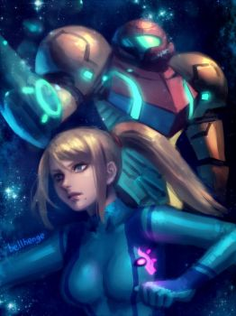 Samus and Samus by bellhenge