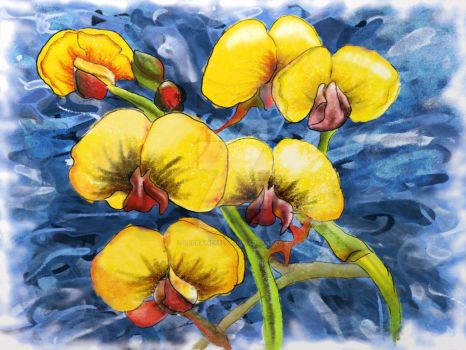 Bacon and Eggs Abstract Wildflower Painting by LorraineKelly