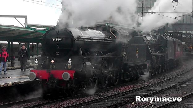 LNER 61264 and LMS 45407 at Carlisle by The-Transport-Guild