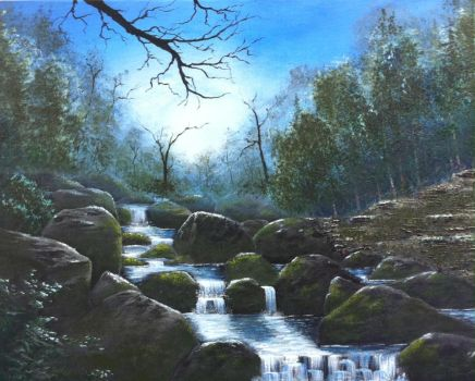 Cold Creek in the Moonlight by molecularart