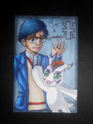 Joe and Gomamon ATC by Libra-the-Hedghog