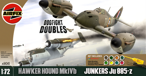 Airfix Hawker Hound + JU885 late 1990s box style by yereverluvinuncleber