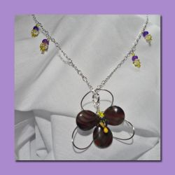 Purple Orchid - Wire Wrapped Necklace by RePietEnterprises