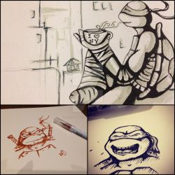 Random TMNT ink doodles by BlossomBrooks