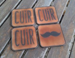 CUIR MOUSTACHE leather coasters by BalmoraLeathercraft